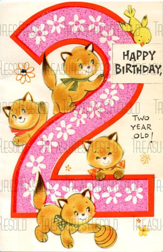 Alles Gute zum Geburtstag 2 jährige Kitty Katze Karte 39 | Etsy