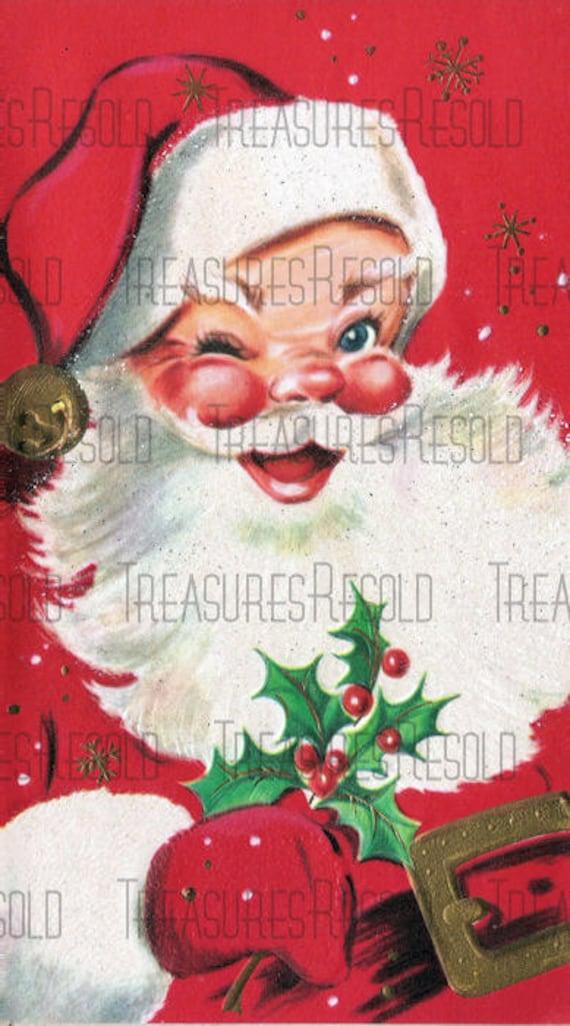 Retro Jolly Santa Claus Christmas Card 606 Digital Download | Etsy