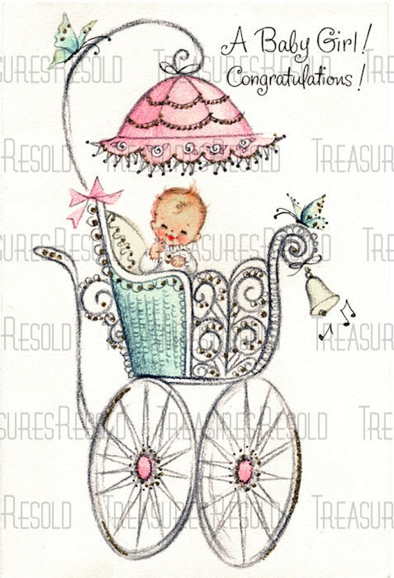 Congratulations New Baby Girl In Buggy Carriage Stroller Card Etsy