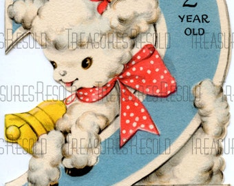 Happy Birthday 2 Year Old Lamb Card #72 Digital Download