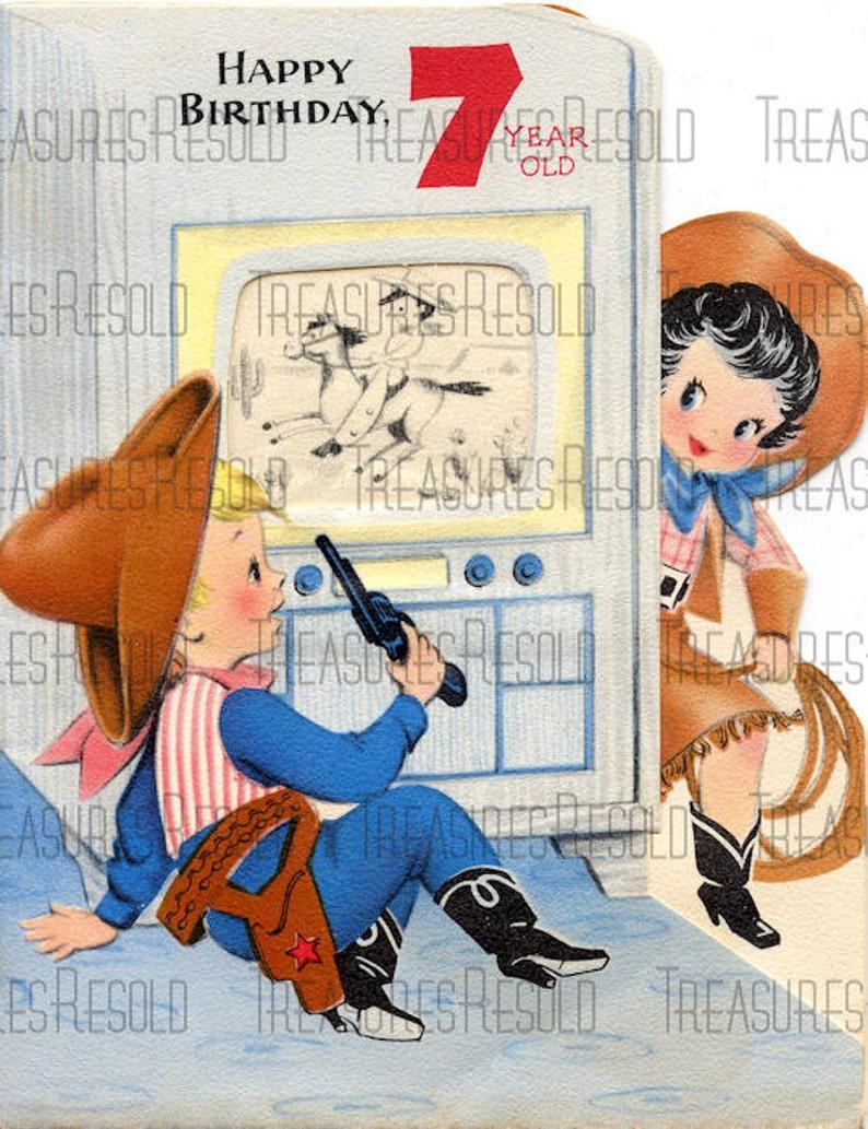 Happy Birthday 7 Year Old Cowboy Cowgirl TV Card 161 Digital