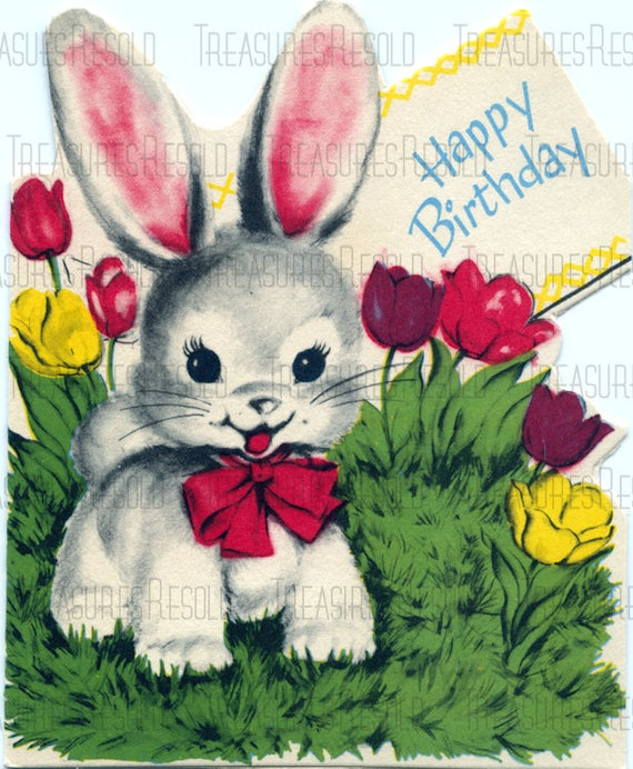 Retro Bunny Rabbit In Spring Flowers Happy Birthday Card 686 Etsy