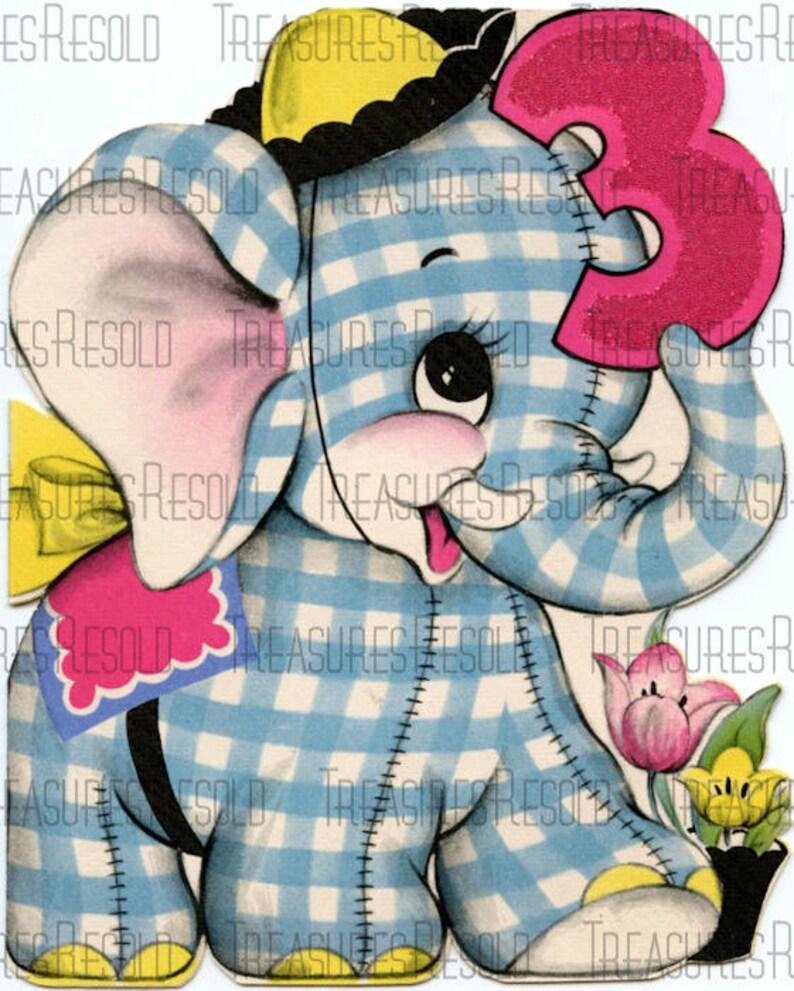Happy Birthday 3 Year Old Stuffed Elephant Card 322 Digital