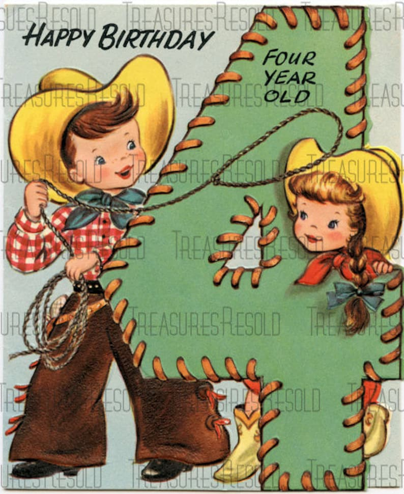 Cowboy Cowgirl 4 Year Old Birthday Card 5 Digital Download