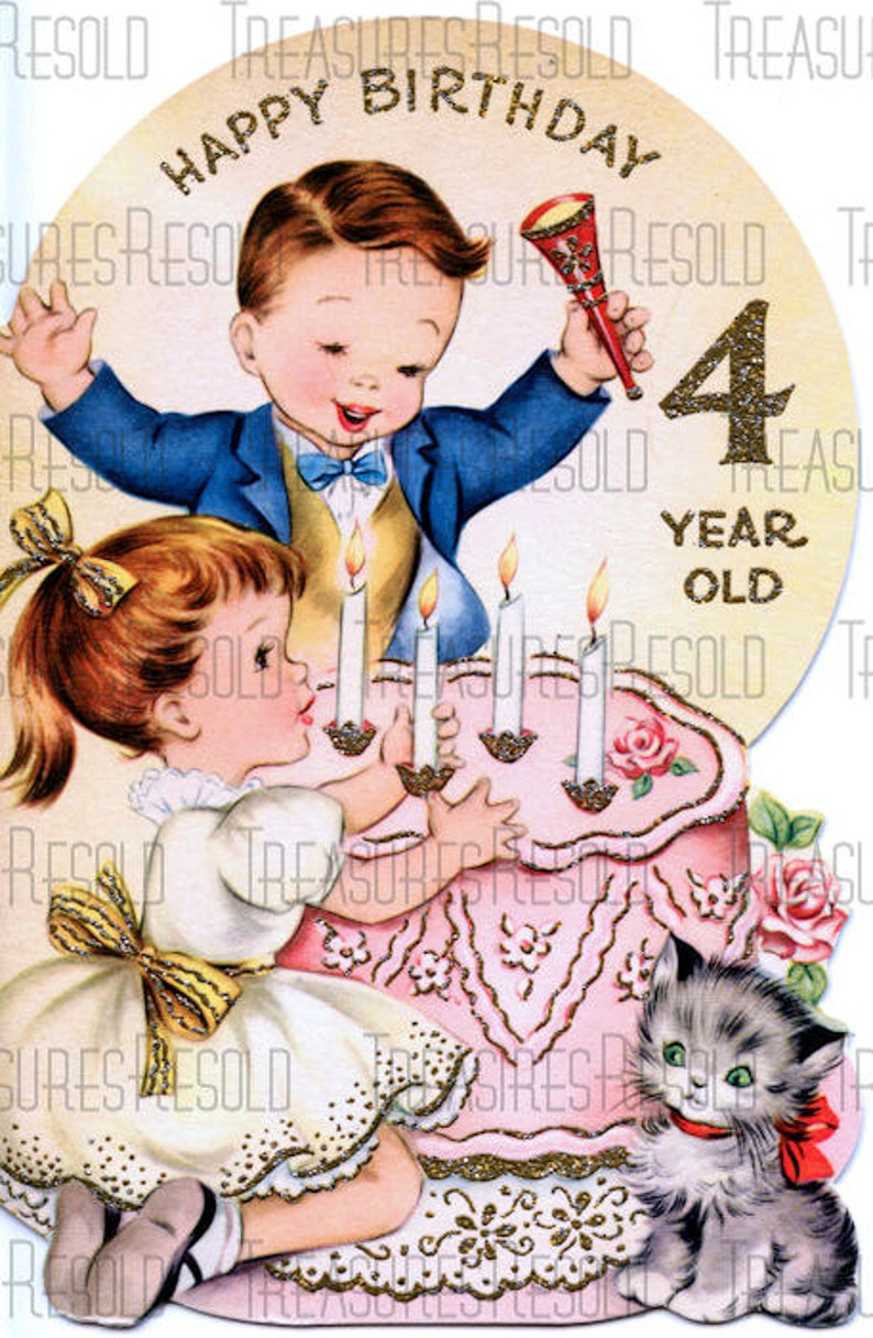 Happy Birthday 4 Year Old Boy Girl Cake Card 438