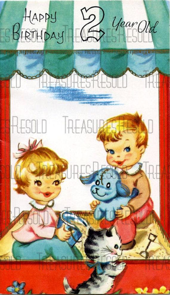 Happy Birthday 2 Year Old Boy And Girl In Sandbox Card 221
