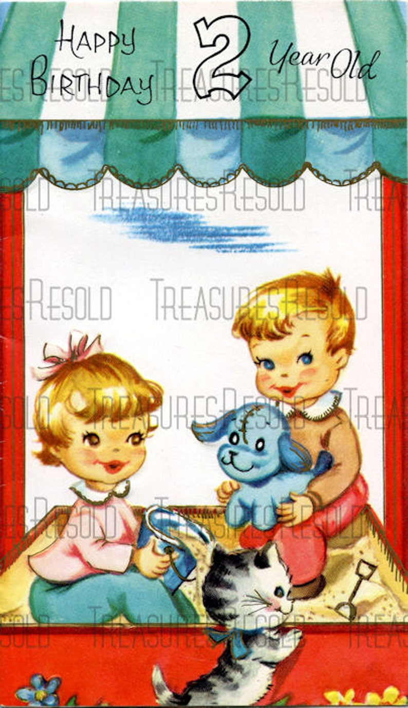 Happy Birthday 2 Year Old Boy And Girl In Sandbox Card 221