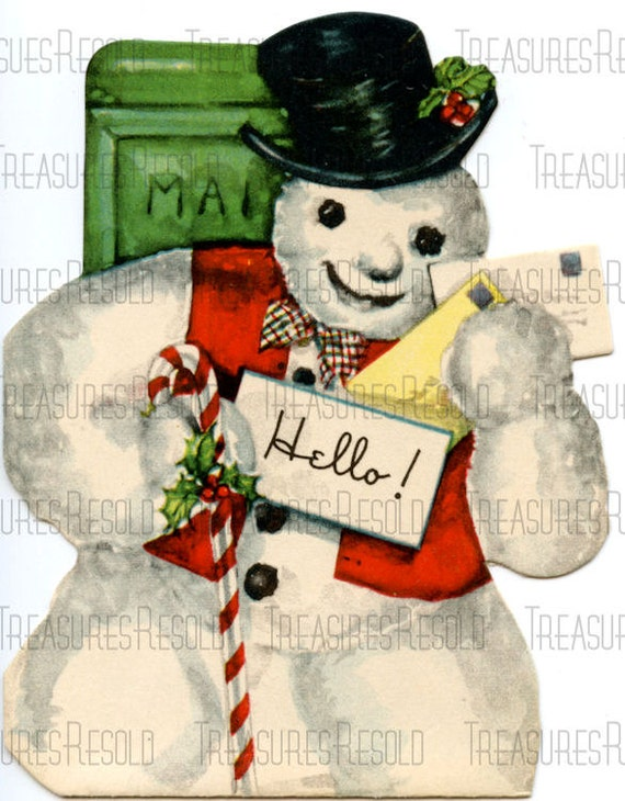 snowman with candy cane mailing christmas cards mailbox - Mailing Christmas Cards