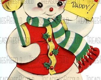 Retro Jolly Snowman Christmas Card #325 Digital Download