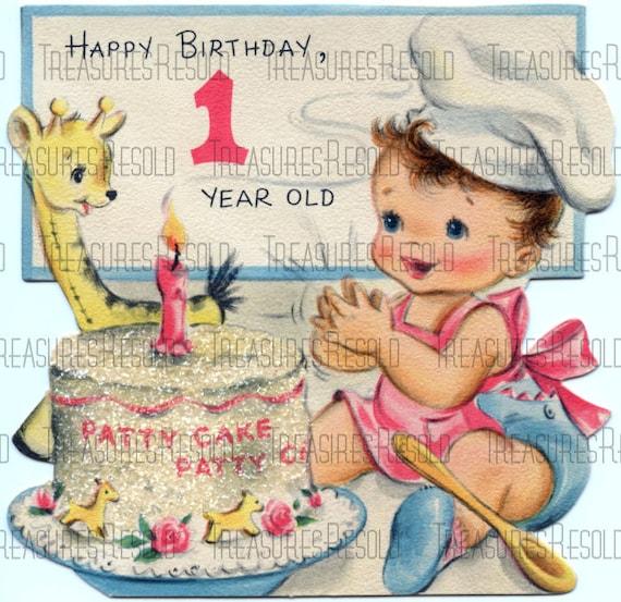 Happy Birthay One Year Old Patty Cake Card 334 Digital Etsy