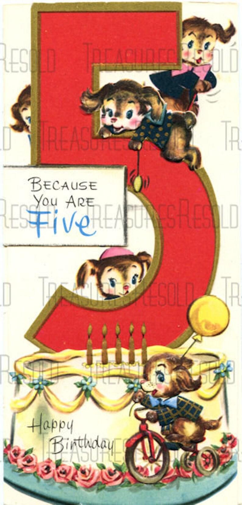 Buon Compleanno 5 Anni Cucciolo Cane Birthday Cake Card 638 Etsy