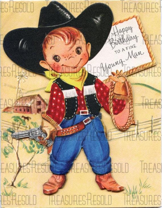 Childs Cowboy Joyeux Anniversaire Carte 580 Telechargement Etsy