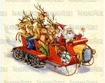 Santa & Reindeer In Tractor Sleigh Christmas Card #297 Digital Download