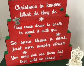 Christmas in Heaven, save them a seat, one empty chair, Red with red/green ribbon, green rhinestones & snowflakes with elegant antique chair