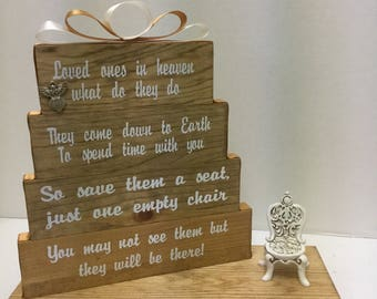 Loved Ones in heaven, what do they do? Stained Special Walnut with gold and ivory accented ribbon and stained rocking chair