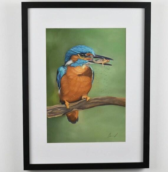 Kingfisher's Catch- Original pastel painting