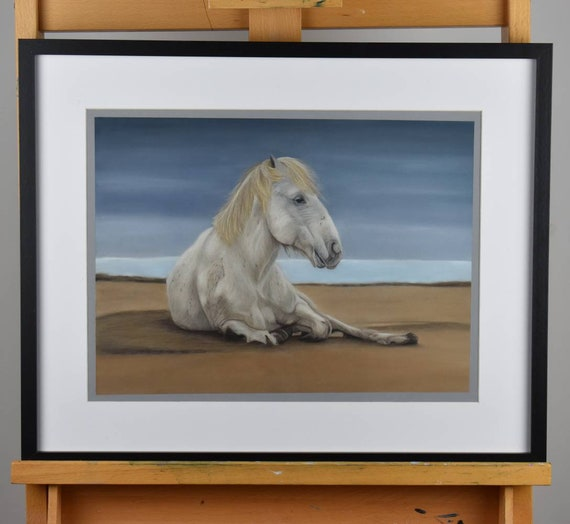 Wild horse of Camargue, France - Original color pencil and pastel painting (unframed)