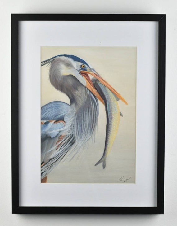 George Catches a Fish - Original pastel painting of a great blue heron