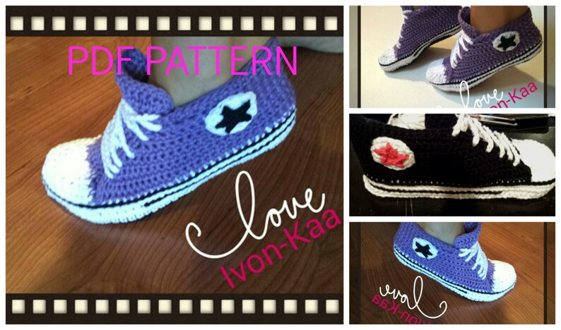 667ce4e6db3622 Crochet pattern WOMAN inspired by converse style shoes PDF