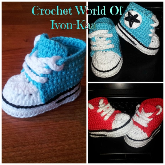 Crochet pattern baby boy girl inspired by converse style shoes   Etsy