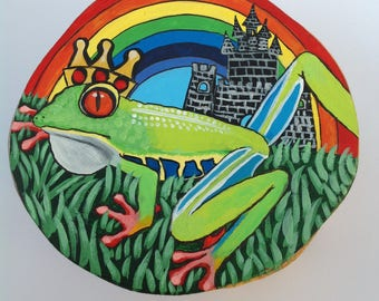 Princess and the Frog  handpainted fairytale on woodslice