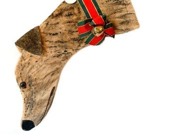 Greyhound Christmas Stocking Painted Brindle Minky fabric (item O)