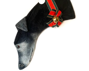 Greyhound Christmas Stocking Black with painted White Face Minky fabric (item BB)