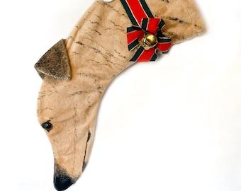 Greyhound Christmas Stocking Painted Brindle Minky fabric