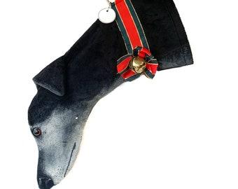 Greyhound Christmas Stocking Black with painted White Face Minky fabric (item C)