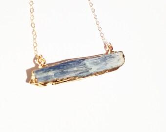 SALE:  Kyanite Bar Tarnish Resistant Bar Necklace