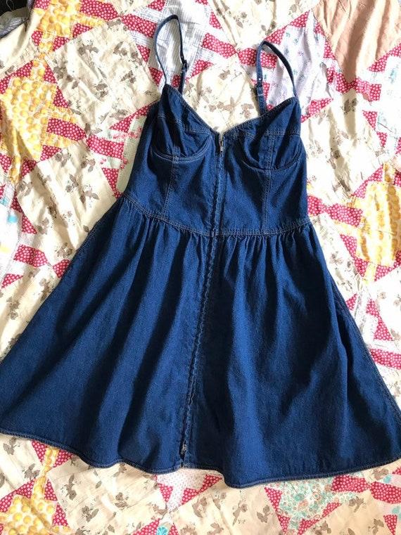 80s 90s Strappy Denim Bustier Dress M L - image 3