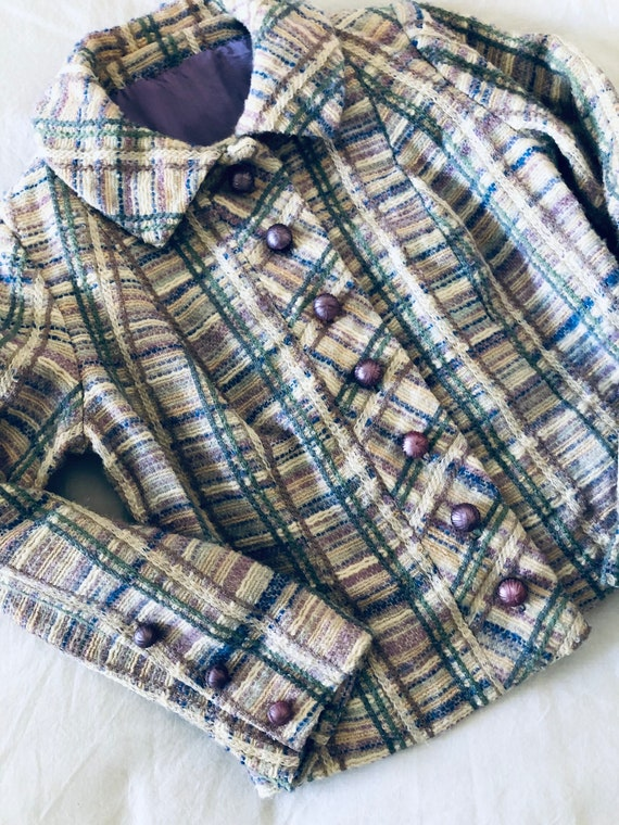50s 60s tailored pastel plaid wool jacket with bon