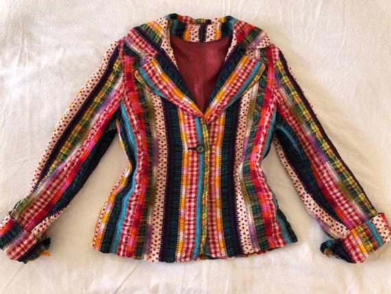70s Rainbow Patchwork Ribbon Blazer