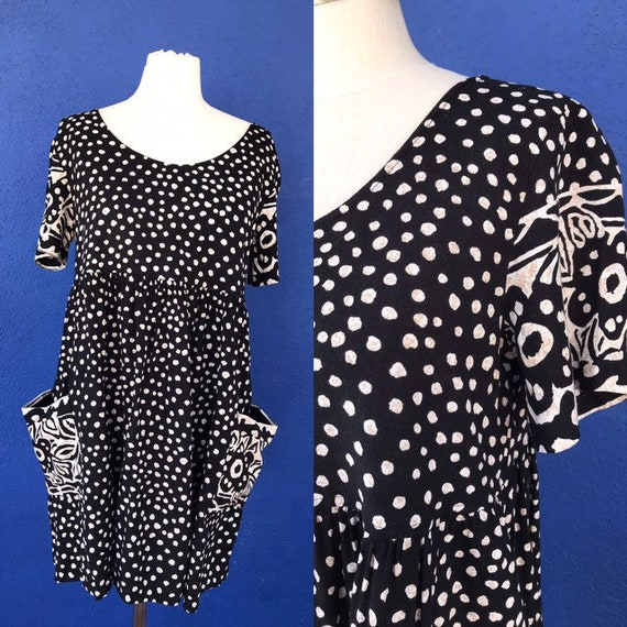 90s absract polka dot / floral baby doll dress M/L