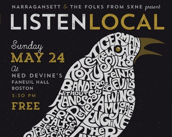 Listen Local 18x24 Screenprinted Gig Poster