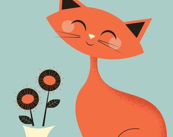Mid Century Cat with flowers