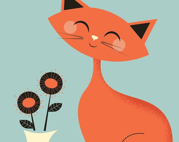 Mid Century Cat with flowers