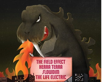 """The Field Effect Gig Poster // TT the Bear's Place, Cambridge, MA 13""""x19"""""""