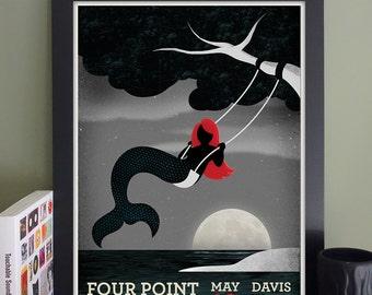 Four Point Restraints/The Interrobang/Eddie Japan/Parlour Bells Gig Poster // Davis Sq. Theater, Somerville, MA