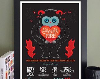 """Hearts on Fire Gig Poster // The Plough and Stars, Cambridge, MA 13""""x19"""""""