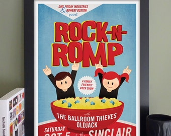 """Rock 'n' Romp Gig Poster with The Ballroom Theives, OldJack // The Sinclair, Cambridge, MA 13""""x19"""""""
