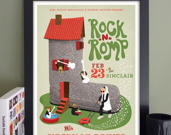 """Rock 'n' Romp Gig Poster with Sidewalk Driver/Airport // The Sinclair, Cambridge, MA 13""""x19"""""""