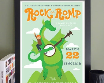 """Rock 'n' Romp Gig Poster with Hallelujah The Hills/Man Alive! // The Sinclair, Cambridge, MA 13""""x19"""""""