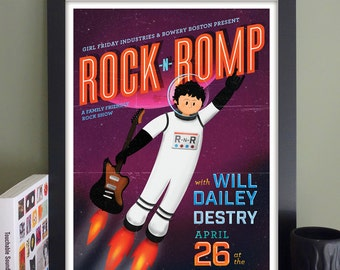 """Rock 'n' Romp Gig Poster with Will Dailey, Destry // The Sinclair, Cambridge, MA 13""""x19"""""""