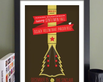 """Oldjack's Holiday Homage with Gentlemen Hall Gig Poster // The Sinclair, Cambridge, MA 13""""x19"""""""
