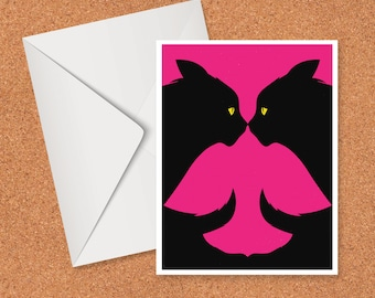 Two cats, one bird art card