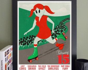 """Sidewalk Driver/The Field Effect Gig Poster // The Trash Bar, Brooklyn, NY 13""""x19"""""""
