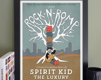 """Rock 'n' Romp Gig Poster with Spirit Kid, The Luxury // The Sinclair, Cambridge, MA 13""""x19"""""""