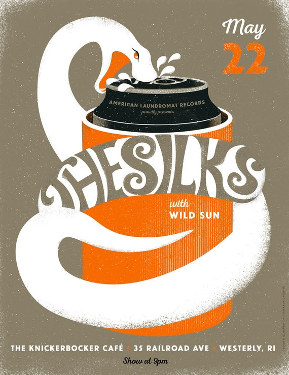 The Silks, Wild Sun gig poster  // Knickerbocker Cafe, Westerly RI