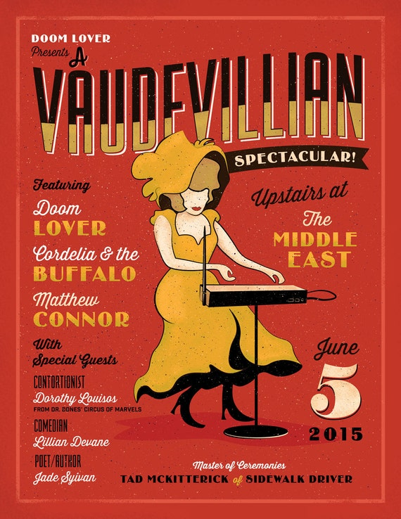 Doom Lover Vaudevillian Spectacular Poster //  The Middle East, Cambridge, MA